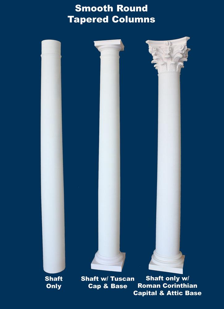 Structural Fiberglass Columns : Round smooth tapered column