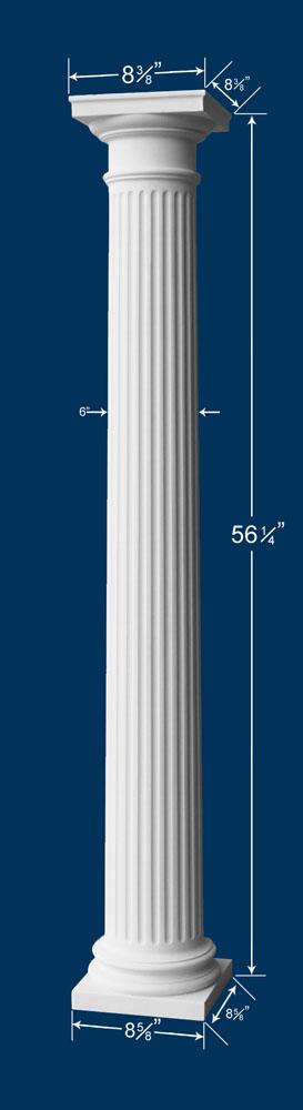 56 1 4 Quot Fluted Column W Cap Amp Base